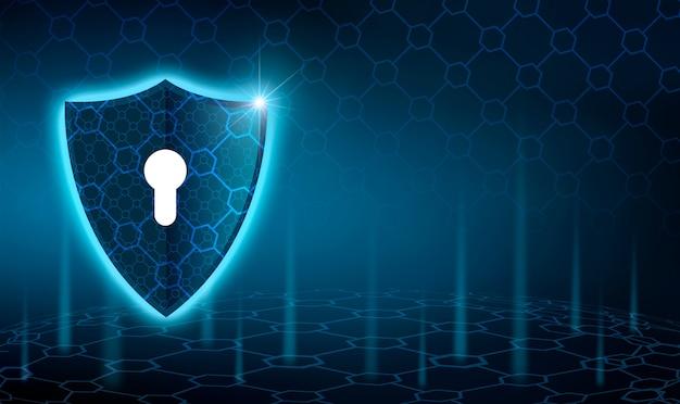 Вектор синий щит бизнес-концепция защиты данных синий щит синий фон Premium Фотографии