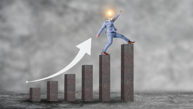Деловые люди, идущие вверх по концепции графа рост бизнеса Premium Фотографии