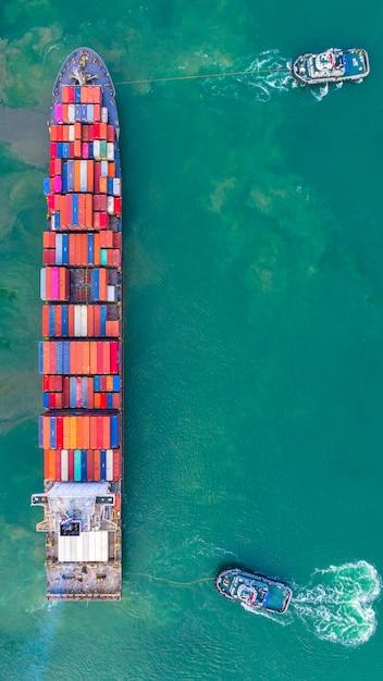産業港で働くコンテナ船、ビジネスの輸出入物流と国際輸送 Premium写真