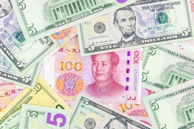 中国の紙幣通貨人民元法案紙幣 Premium写真