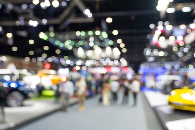 ぼやけた公開イベント展示ホール。ビジネス見本市または商業活動の概念 Premium写真