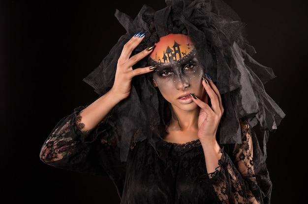Страшные хэллоуин невесты с концепцией страшный макияж Premium Фотографии