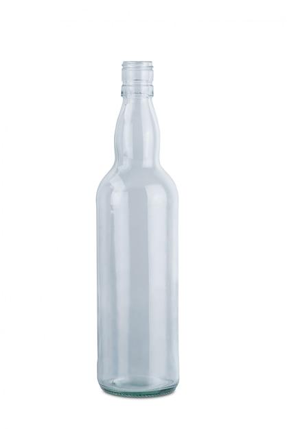 白い背景に分離された透明なガラスの水のボトル Premium写真
