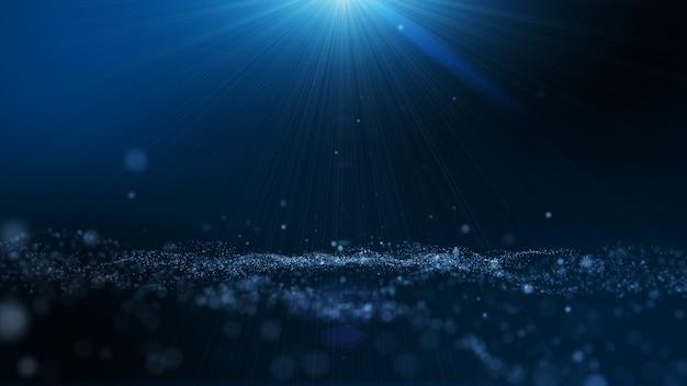 Темно синий и светящиеся частицы пыли абстрактный фон, световой луч луч эффект. Premium Фотографии
