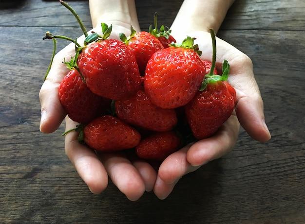 新鮮なイチゴの背景。女の子、手ざわり Premium写真