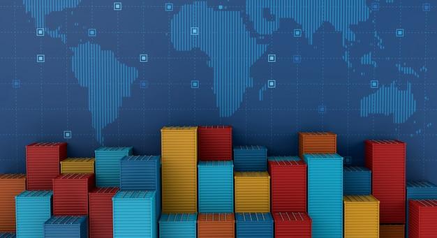 デジタル世界地図上の輸出入ビジネス物流のコンテナー貨物船 Premium写真