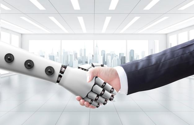 ビジネスマンが機械やロボットと手を振る Premium写真