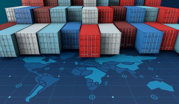 デジタル世界地図上のロジスティクスのインポートエクスポートビジネスロジスティックのコンテナー貨物船 Premium写真