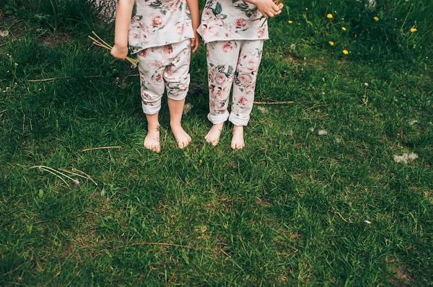 かわいい衣装の双子の姉妹 Premium写真