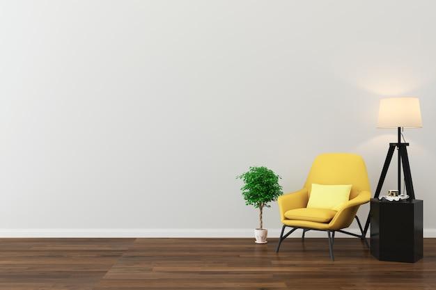 Стена текстура фон деревянный пол жёлтый стул Premium Фотографии