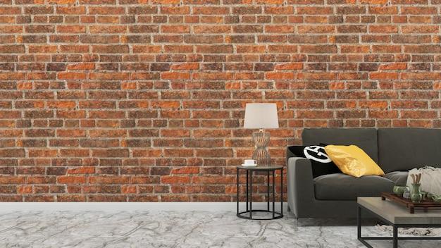 レンガタイルの壁グレーのソファリビングルームハウスの背景テンプレート Premium写真