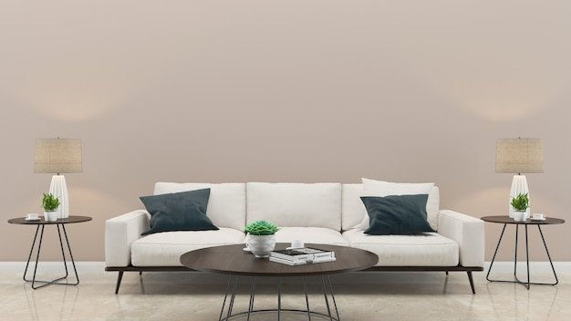 大理石のタイル張りの壁の白いソファリビングルームハウスの背景テンプレート Premium写真