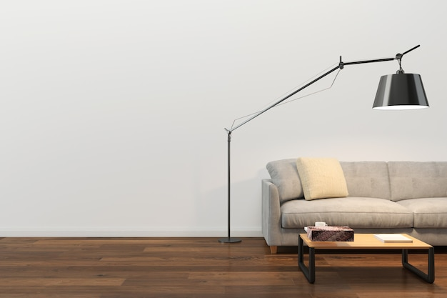 壁テクスチャ背景木材大理石の床ソファ椅子ランプ Premium写真