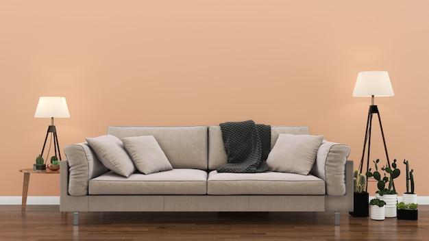 インテリアリビングルームピンクパステル調の壁木の床インテリアソファーチェアランプ Premium写真