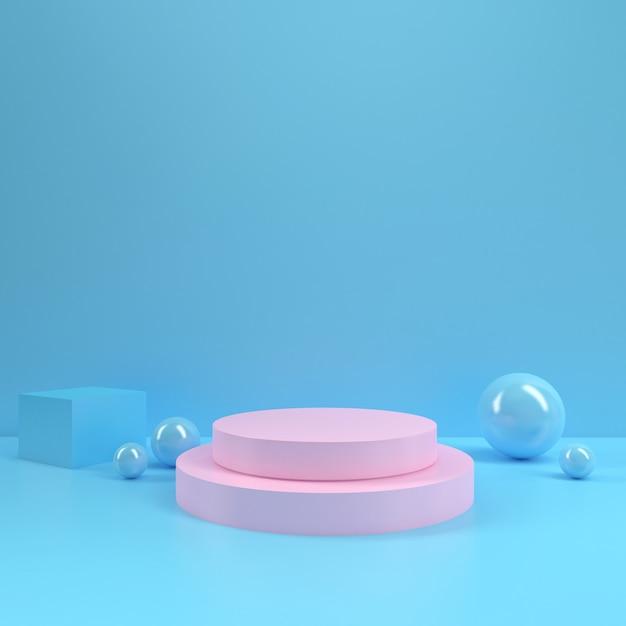パステル調の表彰台長方形図形サークルジオメトリピンクブルールームインテリア製品モックアップ背景 Premium写真