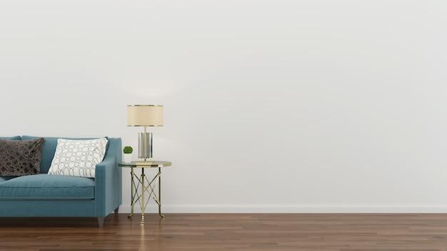 インテリアリビングルームグリーンソファーモダンな壁木の床のテーブルランプの背景 Premium写真