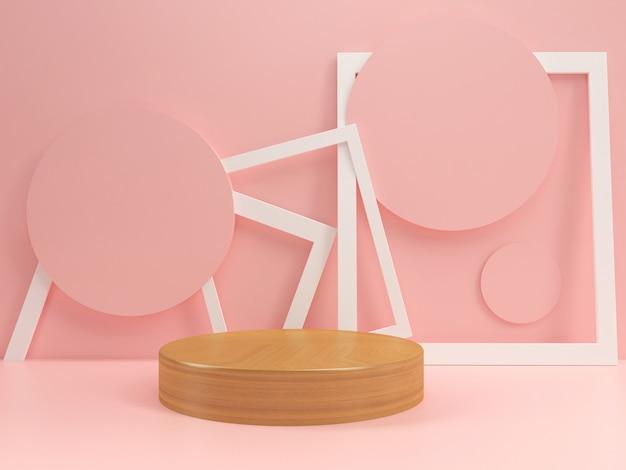 Подиум в пастельных макетах шаблон летний стиль минимальный Premium Фотографии