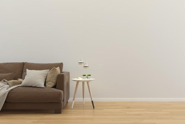 リビングルームのインテリア家の床テンプレートの背景デザインコピースペースのモックアップ Premium写真