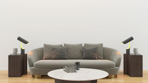 空の家のリビングルームのインテリア Premium写真