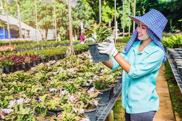 温室で花の世話をして花を植えると幸福な労働者アジア女性。 Premium写真