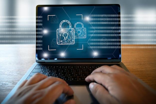サイバーセキュリティビジネステクノロジーセキュアファイアウォールアンチウイルスアラート保護セキュリティおよびサイバーセキュリティファイアウォール Premium写真