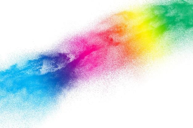 白い背景に多色の粒子の爆発。 Premium写真