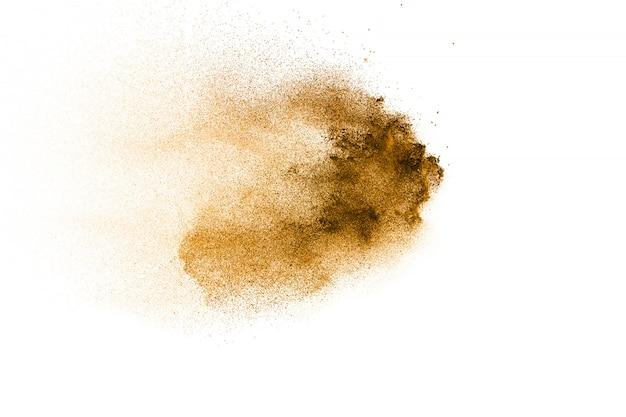 褐色粉塵爆発のフリーズモーション茶色の粉の動きを止めます。 Premium写真