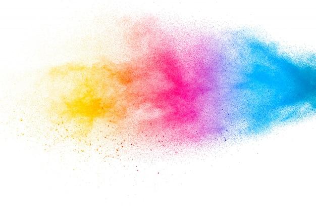 抽象的なカラフルなダスト粒子テクスチャ背景。 Premium写真