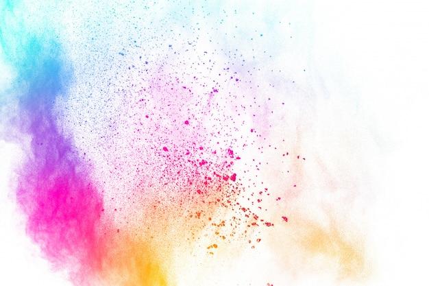 Разноцветный пороховой взрыв. пастельные цвета пыли частицы брызг. Premium Фотографии