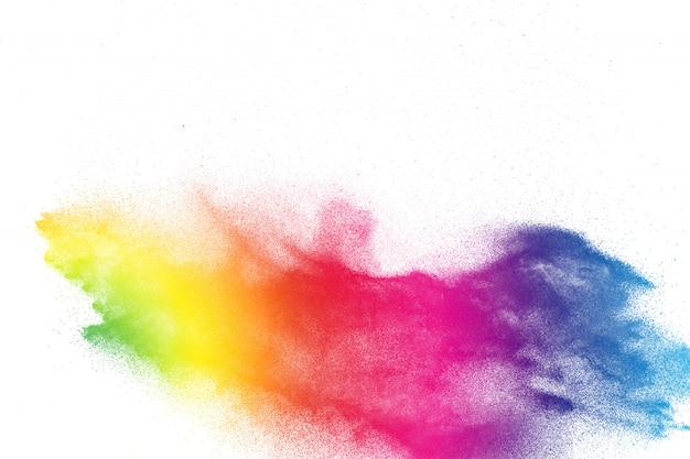 Разноцветный пороховой взрыв. абстрактные пастельные цвета пыли частицы всплеск. Premium Фотографии