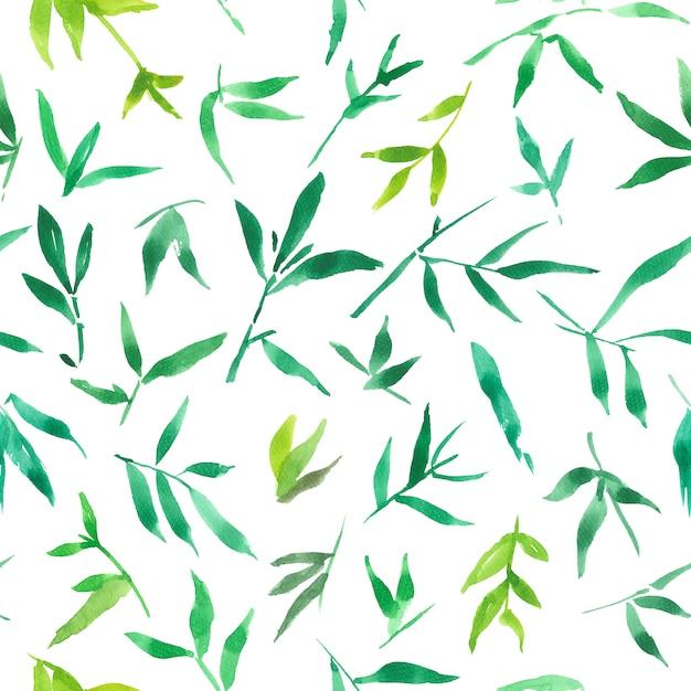 Бесшовные акварель из зеленых листьев бамбука Premium Фотографии