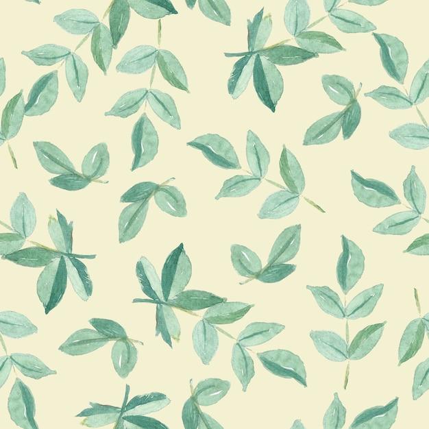緑の葉のシームレスパターン水彩画 Premium写真