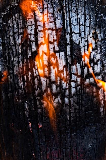 木板のクローズアップの質感は、焼成から燃焼しながら。 Premium写真