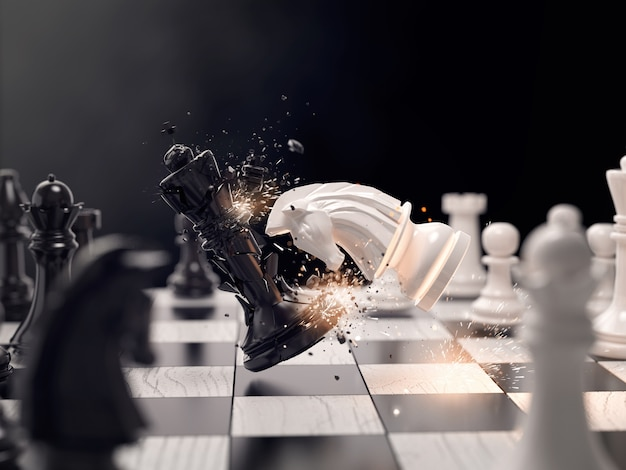 レースに勝つ騎士チェス攻撃。 Premium写真