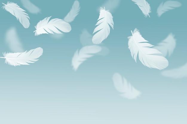 白い羽が空中に浮かんでいます。 Premium写真