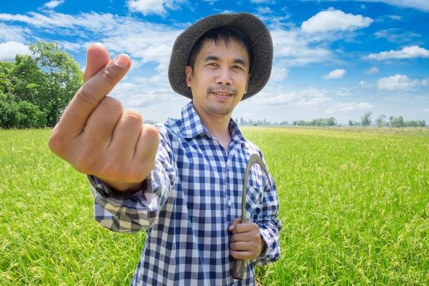 アジアの若い農家幸せなミニハート形と緑の田んぼと青い空に鎌を保持 Premium写真