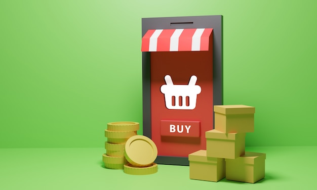 商品やコインを扱うオンラインショッピングストア Premium写真