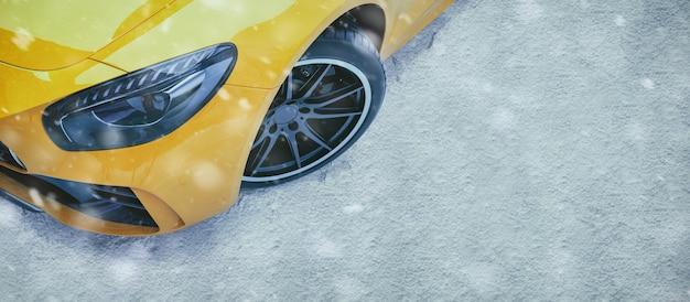 冬の道の車。 Premium写真