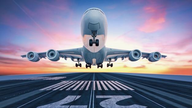 空港から離陸する飛行機 Premium写真