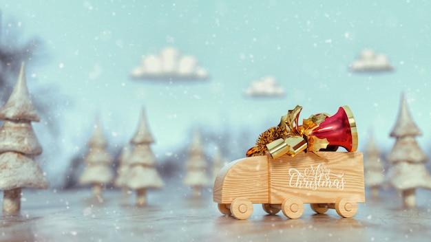 木のおもちゃのトラックの上のトラックの鐘。 Premium写真