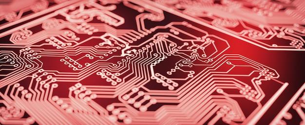 赤い回路基板の背景。 Premium写真