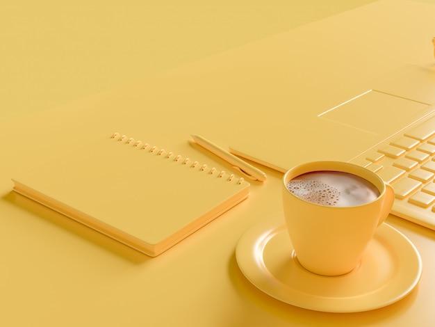 Минимальная концепция. кофе молоко в желтой чашке на рабочем столе с ноутбуком и ноутбуком. желтый Premium Фотографии