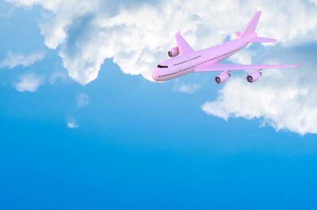 飛行機飛行機モックアップピンク色 Premium写真
