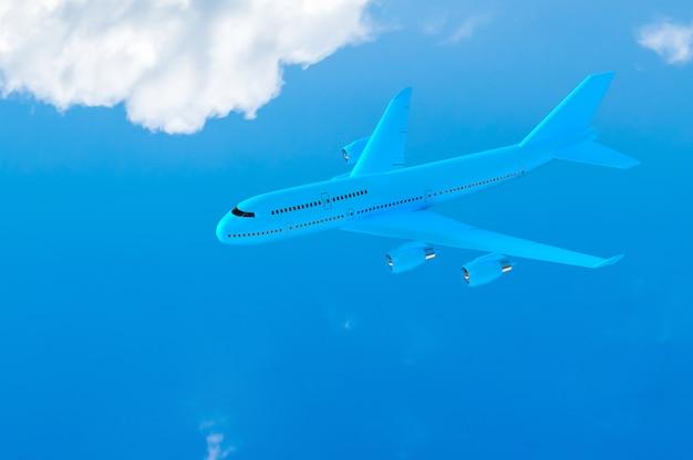 青空にモックアップブルーの飛行機飛行機 Premium写真