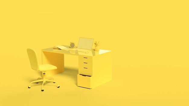 最小限のアイデアコンセプト。ノートパソコンのモックアップ黄色の背景 Premium写真