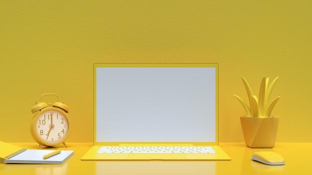 作業机の黄色の色とノートブックをあなたのテキストのモックアップのラップトップの背景 Premium写真