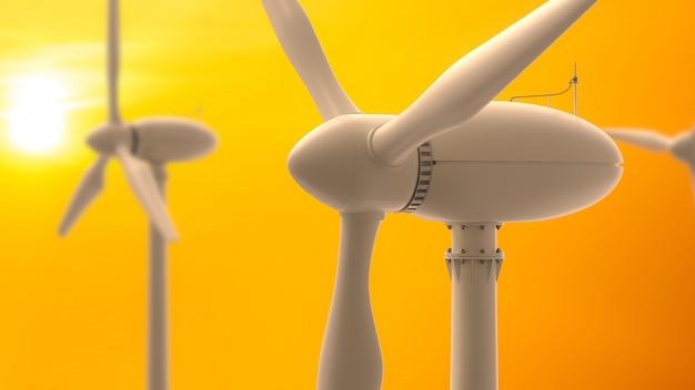 Ветровые турбины производство энергии. Premium Фотографии