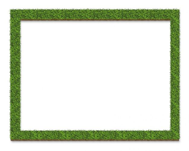 緑の芝生フレームプレート表面、白で隔離 Premium写真