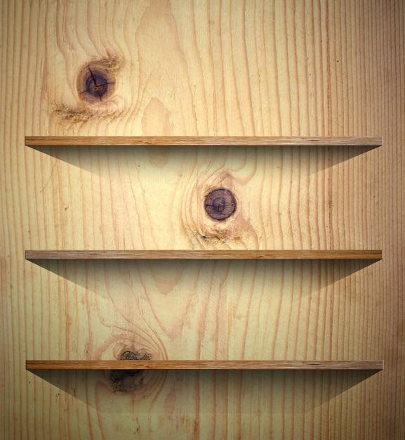 Деревянная полка для книг или фона презентации продукта Premium Фотографии