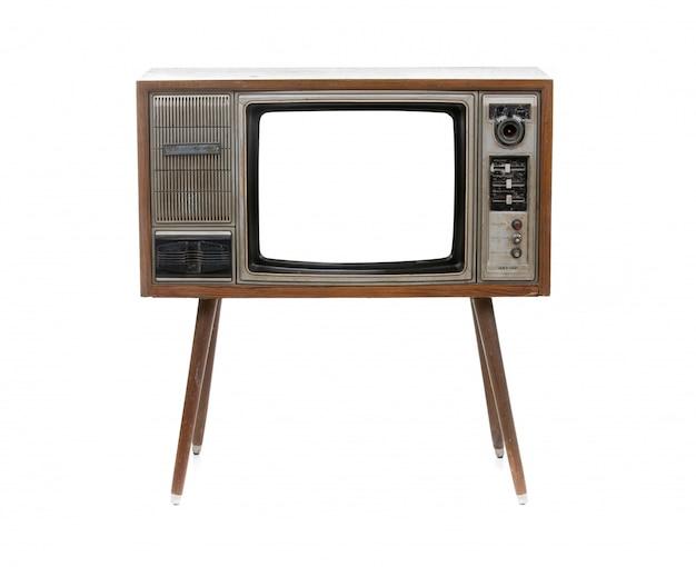 ビンテージテレビ白で分離 Premium写真